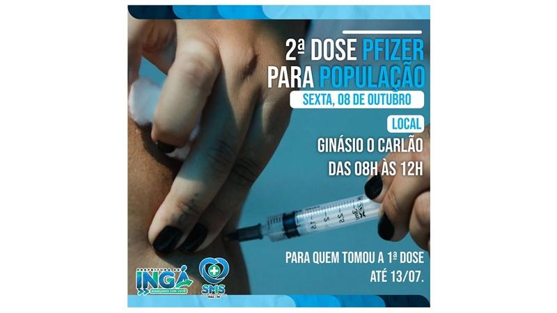 2ª Dose da vacina nesta sexta (08) no Carlão. Tem Coronavac e Pfizer de acordo com a data da 1ª dose tomada