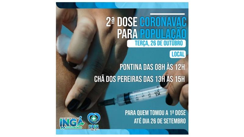 Nesta terça (26) tem vacina coronavac D2 em Chã e Pontina